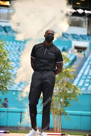 Stock Photo of Former NFL player Chad Johnson attend a press conference at Hard Rock Stadium, in Miami Gardens, Florida. Floyd Mayweather Jr and Lodan Paul are scheduled to face off in an exhibition bout June 6 and Chad Johnson making his boxing debut.6 May 2021