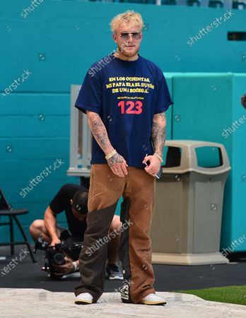 Stock Photo of US Youtuber Jake Paul attend a press conference at Hard Rock Stadium, in Miami Gardens, Florida. Floyd Mayweather Jr and Logan Paul are scheduled to face off in an exhibition bout June 6 May 2021