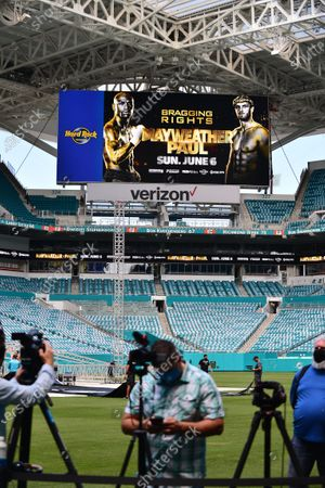 Stock Photo of Atmosphere during US pro boxer Floyd Mayweather Jr and US Youtuber Logan Paul press conference at Hard Rock Stadium, in Miami Gardens, Florida. Mayweather and Paul are scheduled to face off in an exhibition bout June 6 May 2021