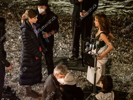 Stock Picture of Actress Lily Collins and Philippine Leroy-Beaulieu (R) are seen filming on set of series two of 'Emily in Paris'