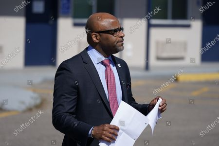 Denver Mayor Michael Hancock makes a point during a news conference outside a shuttered Travelodge Hotel that will be purchased by the city to convert to a residence for people experiencing homelessness, in northeast Denver. U.S. Rep. Diana DeGette will seek $2 million in federal funding to help purchase the site. DeGette, like each member of Congress, is able to seek funding for 10 projects through the Community Project Funding Requests