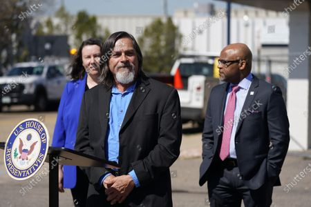 John Parvensky, front, chief executive officer of the Colorado Coalition for the Homeless, makes a point as Britta Fisher, executive director of the City of Denver's Department of Housing Stability, back left, and Denver Mayor Michael Hancock look on during a news conference outside a shuttered Travelodge Hotel that will be purchased by the city to convert to a residence for people experiencing homelessness, in northeast Denver. U.S. Rep. Diana DeGette will seek $2 million in federal funding to help purchase the site. DeGette, like each member of Congress, is able to seek funding for 10 projects through the Community Project Funding Requests