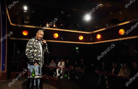 Stock Image of Comedian Finesse Mitchell performs at the re-opening of the Laugh Factory comedy club, in Los Angeles. The club has been closed to live audiences since March 2020 due to the COVID-19 pandemic