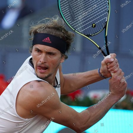 Alexander Zverev of Germany in action during his third round match against Daniel Evans of Great Britain during day eight of the Mutua Madrid Open at La Caja Magica on May 06, 2021 in Madrid, Spain