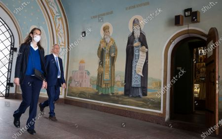 Foreign Affairs Minister Sophie Wilmes and Belgian ambassador to Ukraine Alex Lenaerts pictured in 'St. Michael's Golden-Domed Monastery' during a two-day mission of the Foreign Ministers of the Benelux to Ukraine, Friday 07 May 2021, in Kiev.