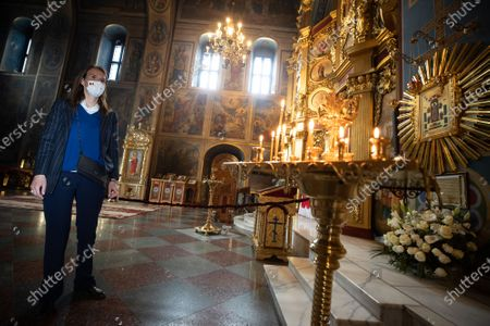 Foreign Affairs Minister Sophie Wilmes pictured in 'St. Michael's Golden-Domed Monastery' during a two-day mission of the Foreign Ministers of the Benelux to Ukraine, Friday 07 May 2021, in Kiev.