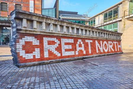 Netflix destroy the Great Northern Railway Company's Goods Warehouse sign for a stunt in Manchester to mark the release of the highly anticipated Millarworld superhero series Jupiter's Legacy on Netflix from today (Credit: Dave Phillips/StillMoving.net for Netflix)