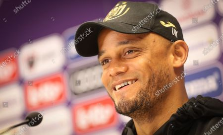 Stock Image of Anderlecht's head coach Vincent Kompany pictured during a press conference of Belgian soccer team RSC Anderlecht in Brussels, Friday 07 May 2021, ahead of their next game in the 'Jupiler Pro League' Belgian soccer championship.