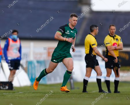 Matt Healy leads the Connacht team out on his 150th appearance for the Province; Galway Sportsgrounds, Galway, Connacht, Ireland; Rainbow Cup Rugby, Connacht versus Leinster.