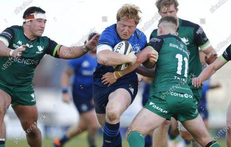 James Tracy (Leinster) drives forward under pressure from Denis Buckley and Matt Healy (Connacht); Galway Sportsgrounds, Galway, Connacht, Ireland; Rainbow Cup Rugby, Connacht versus Leinster.