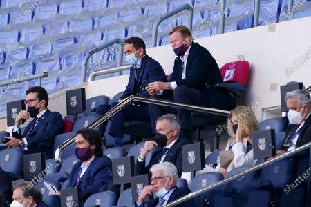 Ronald Koeman FC Barcelona coach watches from the stands; Camp Nou, Barcelona, Catalonia, Spain; La Liga Football, Barcelona versus Atletico Madrid.