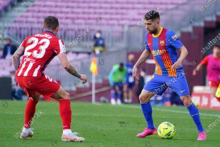 Jordi Alba FC Barcelona takes on Kieran Trippier of Atletico; Camp Nou, Barcelona, Catalonia, Spain; La Liga Football, Barcelona versus Atletico Madrid.
