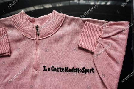 Editorial image of Maglia Rosa of Fausto Coppi exhibited at the Museo Egizio in Turin, Italy - 07 May 2021