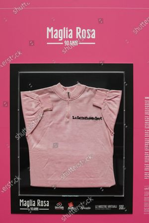 Stock Image of View of the Maglia Rosa of Italian cycling legend Fausto Coppi, exhibited at the Museo Egizio in Turin, Italy, 07 May 2021. The Giro d'Italia overall leader's pink jersey celebrates its 90th anniversary. The 104th edition of the Giro d'Italia will take place from 08 May through 30 May 2021.