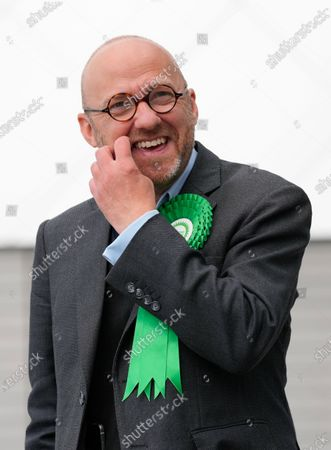 Scottish Green Party Co-leader Patrick Harvie arrives at the Scottish Election 2021.