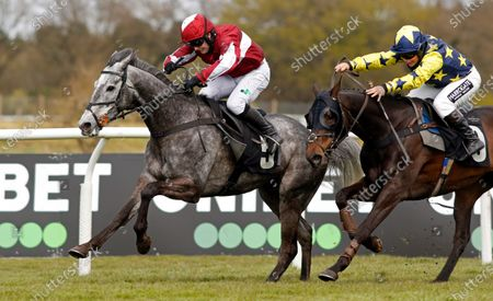 Stock Photo of AN TAILLIUR (Jonjo O'Neill jr) beats SEAPOINT (right) in The Unibet 3 Uniboosts A Day Handicap Hurdle Market Rasen