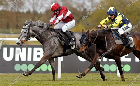 Stock Picture of AN TAILLIUR (Jonjo O'Neill jr) beats SEAPOINT (right) in The Unibet 3 Uniboosts A Day Handicap Hurdle Market Rasen