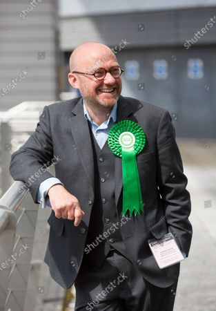 Stock Image of Green Party leader Patrick Harvie arrives at the counting center for the Scottish elections at the Emirates in Glasgow, Scotland, Britain, 07 May 2021. People in Scotland headed to the polls on 06 May to elect 129 members of the Scottish Parliament. The vote count began on 07 May and the final results are expected to be announced on 08 May.