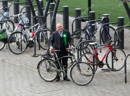 Stock Picture of Green Party leader Patrick Harvie arrives at the counting center for the Scottish elections at the Emirates in Glasgow, Scotland, Britain, 07 May 2021. People in Scotland headed to the polls on 06 May to elect 129 members of the Scottish Parliament. The vote count began on 07 May and the final results are expected to be announced on 08 May.