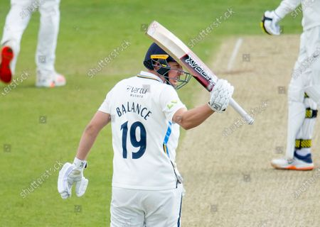 Yorkshire's Gary Ballance celebrates his half century against Kent.