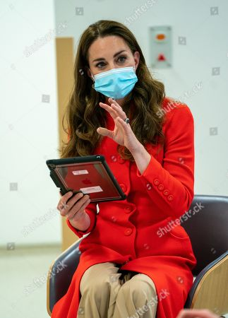 Catherine Duchess of Cambridge visited the Royal London Hospital Whitechapel During the visit, The Duchess heard about how the hospital uses art to benefit its staff and patients, before meeting a small group of hospital staff and heard about their experiences over the past year.