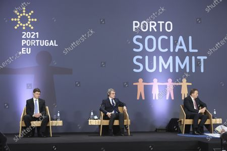 Stock Photo of (L-R) European Commissioner for An Economy that Works for People Valdis Dombrovskis, European Parliament President David Sassoli and Sweden's Prime Minister Stefan Lofven during a panel discussion at an EU summit at the Alfandega do Porto Congress Center in Porto, Portugal, 07 May 2021. European Union leaders are meeting for a summit in Portugal, sending a signal they see the threat from COVID-19 on their continent as waning amid a quickening vaccine rollout. Their talks hope to repair some of the damage the coronavirus has caused in the bloc, in such areas as welfare and employment.