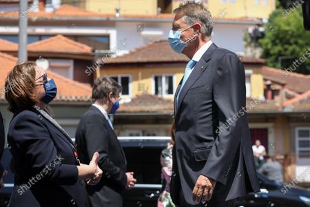 Romania President Klaus Werner Iohannis (R) arrives to attend the EU Social Summit with Heads of State and Government, social partners and other participants held at Alfandega do Porto in Porto, Portugal, 07 May 2021. The meeting takes place during the Portuguese Presidency of the Council of the European Union.