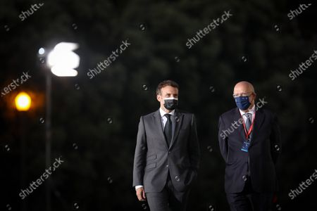 French President Emmanuel Macron (L) and Portuguese Minister of State for Foreign Affairs Augusto Santos Silva arrives for a  informal working dinner of the Members of the European Council at Palacio de Cristal in Porto, Portugal, 07 May 2021. The meeting takes place during the Portuguese Presidency of the Council of the European Union.