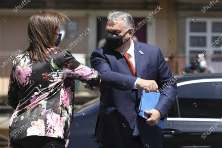 Hungary Prime Minister Viktor Orban (R) arrives at an EU summit at the Alfandega do Porto Congress Center in Porto, Portugal, 07 May 2021. European Union leaders are meeting for a summit in Portugal, sending a signal they see the threat from COVID-19 on their continent as waning amid a quickening vaccine rollout. Their talks hope to repair some of the damage the coronavirus has caused in the bloc, in such areas as welfare and employment.