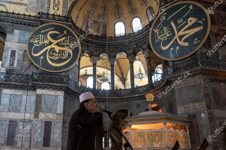 A Muezzin of the Hagia Sophia Mosque makes a call to the last Friday prayer of Ramadan during the lockdown in Istanbul, Turkey, 07 May 2021. Turkish President Recep Tayyip Erdogan announced a total lockdown between 30 April to 17 May due to increased COVID-19 cases. The lockdown coincides with the festival of Eid al-Fitr, which marks the end of the Muslim fasting month of Ramadan. The toll from coronavirus-related deaths has risen in Turkey to 39,737 people in total as of 28 April 2021, with the country reporting 4,788,700 confirmed cases.