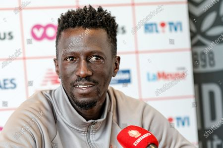 Standard's head coach Mbaye Leye pictured during a press conference of Belgian soccer team Standard de Liege, Friday 07 May 2021 in Liege, ahead of the second match in the play-offs of the 'Jupiler Pro League' Belgian soccer championship.