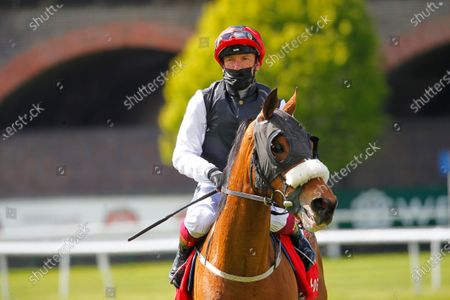 Frankie Dettori after victory on Falcon Eight in the tote.co.uk Chester Cup at Chester.