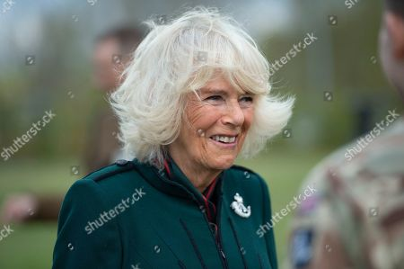 Stock Picture of Camilla Duchess of Cornwall, Colonel-in-Chief,The Rifles,will undertake her first visit to 5thBattalion The Rifles, following her new appointment asColonel-in-Chief.  Her Royal Highness will be greeted with a Royal Fanfare on arrival at the barracks.The Duchess will then receive a short private briefing by The Commanding Officer,Lieutenant ColonelJim Hadfield MBE. The Duchess will then meet with Riflemen and their familiesat a small reception (outside).During the reception Her Royal Highnesswill meet Riflemen who have recentlyreturned from Estonia(Operation CABRIT 7) and other Riflemen and families that remained in the UK over the tour.This group were instrumental in the success of the Battalion in Estonia, providing unwavering support.The Duchesswill also present a small numberof non-operational medals.Following the reception, The Commanding Officerwill say a few words before Her Royal Highness departs.