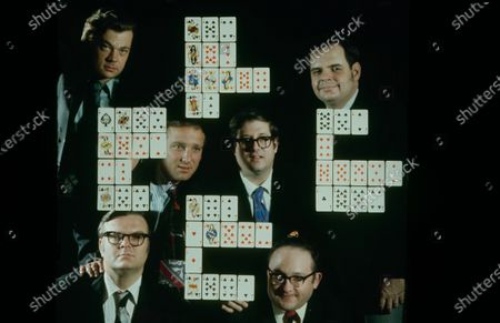 Champion Bridge players Mike Lawrence (top left), Bob Hamman (top right), Bob Goldman (center left), Paul Soloway (center right), Jim Jacoby (lower left), Bob Wolff (lower Right) posing for a picture, United States, 1972.