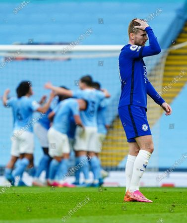 Timo Werner of Chelsea dejected after Raheem Sterling of Manchester City scores the opening goal to give Manchester City a 1-0 lead