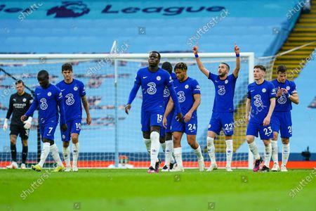 Hakim Ziyech of Chelsea celebrates scoring a goal to make it 1-1