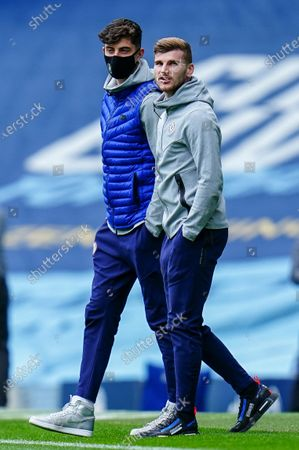 Stock Photo of Kai Havertz of Chelsea and Timo Werner of Chelsea inspect the pitch together before kick off