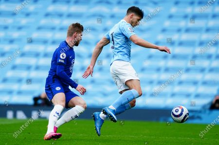 Stock Picture of Ruben Dias of Manchester City ahead of Timo Werner of Chelsea