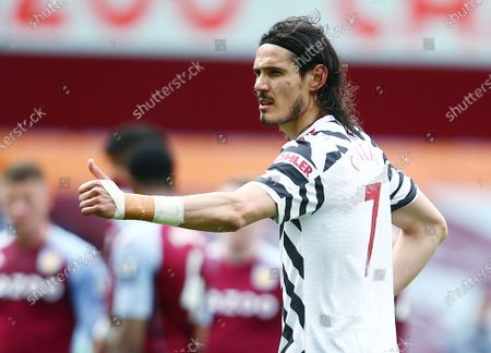 Edinson Cavani of Manchester United gives a thumbs up