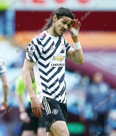 Edinson Cavani of Manchester United looks thoughtful