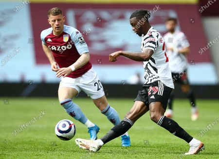 Aaron Wan-Bissaka of Manchester United and Ross Barkley of Aston Villa