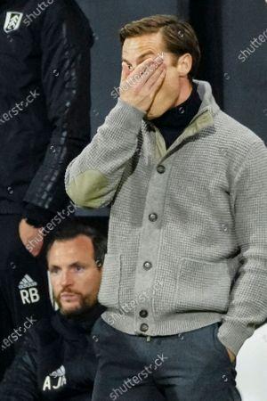 Fulham manager Scott Parker dejected on the sideline