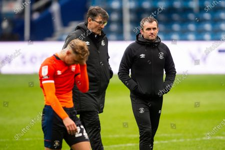 Nathan Jones manager of Luton Town with Mick Harford assistant manager of Luton Town and Kieran Dewsbury-Hall of Luton Town