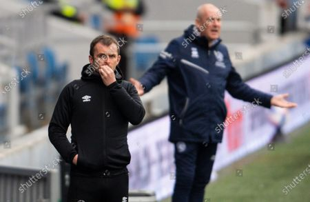 Nathan Jones manager of Luton Town and Mark Warburton manager of QPR