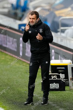 Nathan Jones Luton Town Manager reacts on the sideline