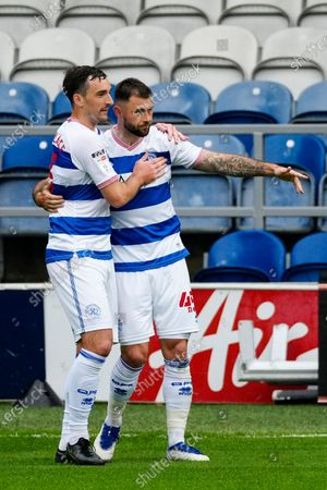 Stock Photo of Charlie Austin of QPR celebrates scoring the opening goal with Lee Wallace of QPR