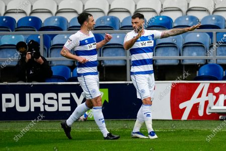 Stock Picture of Charlie Austin of QPR celebrates scoring the opening goal with Lee Wallace of QPR
