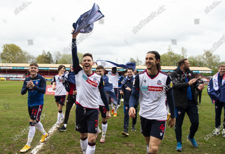Gethin Jones of Bolton Wanderers and Jordan Williams of Bolton Wanderers celebrate after promotion to League One
