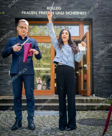 German Foreign Minister Heiko Maas (L) and Iraqi human rights activist and Nobel Peace Prize laureate Nadia Murad (R) symbolically open the College 'Women, Peace and Security' at the Foreign Service Academy in Berlin-Tegel in Berlin, Germany, 07 May 2021.