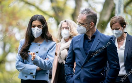 German Foreign Minister Heiko Maas (R) and Iraqi human rights activist and Nobel Peace Prize laureate Nadia Murad (L) attend a ceremony to symbolically open the College 'Women, Peace and Security' at the Foreign Service Academy in Berlin-Tegel in Berlin, Germany, 07 May 2021.